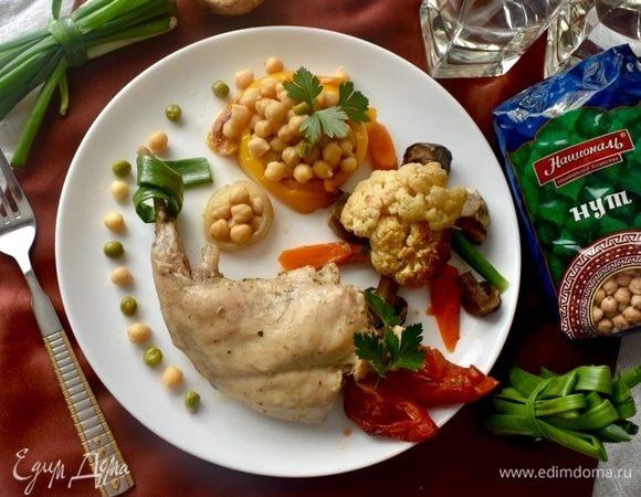 Кролик, запеченный с овощами и нутом
