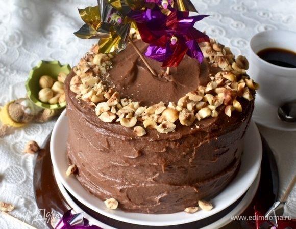 Торт с фундуком и шоколадно-ореховым кремом «Пробуждение»