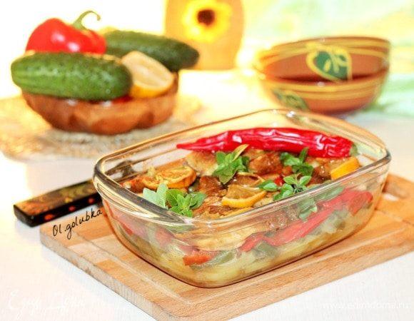 Рыба с медовым чесноком и овощами