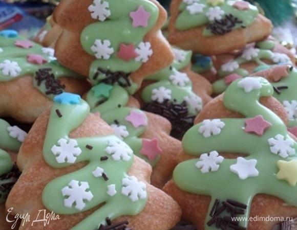 Творожное печенье «Новогодние елочки»