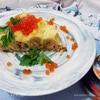 Блинный пирог-улитка с горбушей и красной икрой