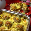Тефтели, запеченные под яично-сырной заливкой