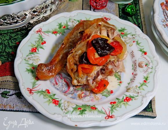 Чесночно-имбирная курица с курагой и черносливом