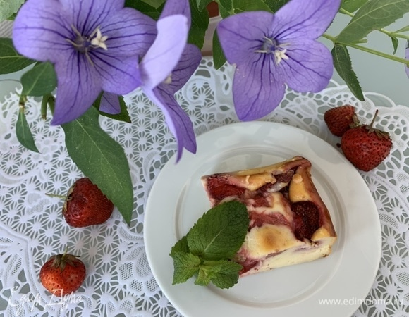 Сырный пирог с клубникой