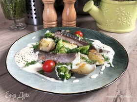 Олег жарит! Скумбрия с луковым кремом и овощами