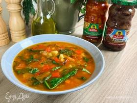Олег жарит! Постный суп с печеной фасолью и овощами