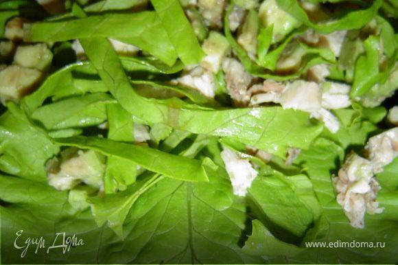 перемешиваем с кусочками курицы и авокадо, выкладываем на листья салата.