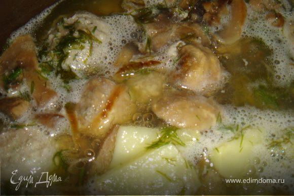 приготовить тефтели: смешать фарш, рис, яйцо, мелко рубленный лук (половину),чеснок. Посолить,поперчить. Отставить в сторону. Лук (вторую половину)на суп порезать полукольцами и обжарить на раст.масле до золотистого цвета. Выложить туда шампиньоны порезанные на любой манер (как нравится) и обжарить 5-7 минут. Порезать мелко укроп и выложить к шампиньонам с луком. Сформировать тефтели. Положить сверху на грибы, прикрыть крышкой и дать потушиться минут 10. Я воду не добавляла, потому как грибы пустили сок. Закипятить 1,5 литра воды и налить в кастрюлю. Картошку мелко порезать кубиками. Выложить в кастрюлю все ингредиенты и варить 20 минут.