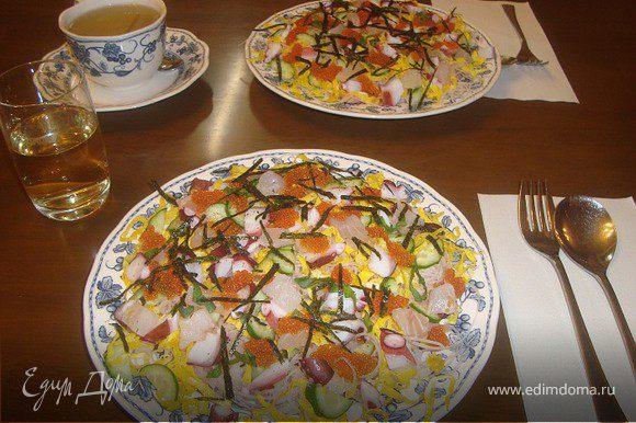 Рис отвариваем до готовности ( в оригинале- японский круглый рис)...Добавляем в рис японский уксус как для суши. Лосось или семгу запечь. затем порубить на кусочки.. яйца взбиваем (+соль на кончике ножа) -жарим два-три тонких омлета. Сворачиваем трубочкой и режем тонкими полосками... огурец разрезаем пополам и тонко шинкуем...