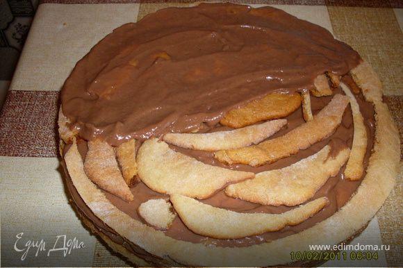 Я использую в торт все обрезки коржей, выкладывая их где-нибудь посередине.