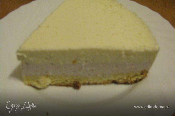 В форму для торта положить одну часть бисквита и вылить на верх йогурт, поставить в холодильник на 1 час. Когда застынет сделать вторую порцию йогурта и вылить на верх первой части.Застынет и можна подавать к чаю.