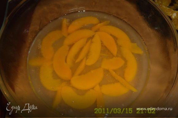 Залить желатин стаканом воды и дать набухнуть,затем распустить его на водяной бане(на маленьком огне) не дав закипеть,добавить к нему сироп из банки, сок лимона,воду,сахар(если нужен).Все хорошенько перемешать. Персики порезать ломтиками,апельсин разрезать пополам. Из одной половинки выжать сок,а вторую почистить,чтобы осталась одна мякоть(без белых пленок). В форму уложить половину персиков и залить желейной массой,чтобы чуть покрывала их.Тогда они не поплывут.И поставить застывать в холодильник(я ставила в морозилку,чтобы быстрее).