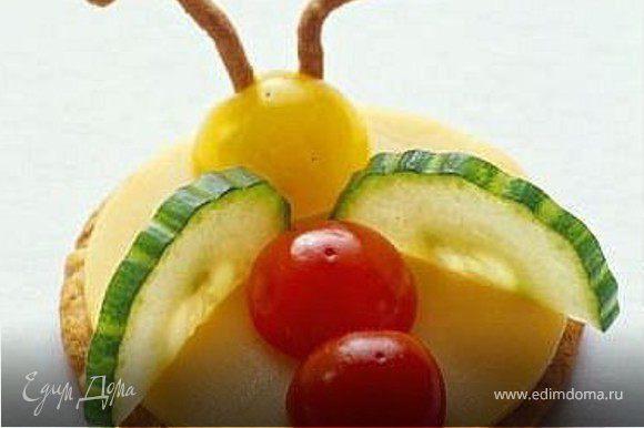 огурец, помидор-черри, сыр, злаки