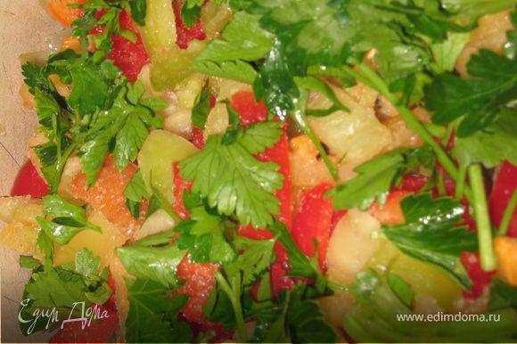Слой перца и посыпаем зеленью