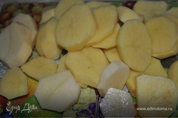 Картофель порезать толстыми кружками