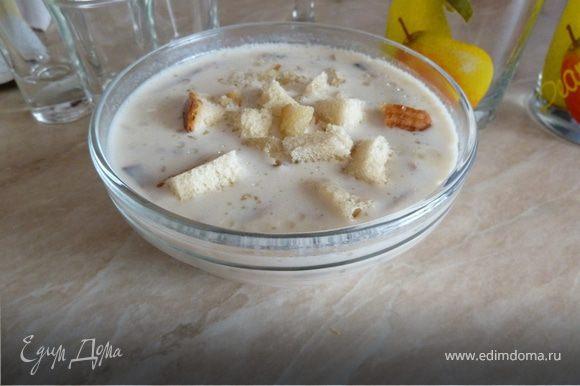 В кипящую воду к картошке добавляем обжаренные шампиньоны с луком. После закипания, выкладываем туда сливочный сыр Viola и тщательно вымешиваем, до полного растворения сыра. Постоянно помешивая, доводи до кипения и снимаем с плиты. В это время режим хлеб кубиками, и обжариваем на подсолнечном масле. Наливаем наш супчик в тарелку и посыпаем сухариками!!! Приятного всем аппетиту!!!