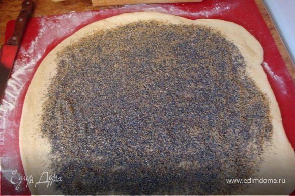 Если боитесь, что плюшки будут суховаты - смажьте лепешку сливочным маслом или потрите на мелкой терке замороженное сливочное масло (около 1 столовой ложки). Высыпать на лепешку сухой мак, добавить сахар (я использовала коричневый - около 3 столовых ложек). Перемешать и распределить по всей поверхности ладонью, оставив края (около 3 см.)...