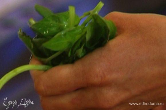 Листья базилика слегка измельчить руками.
