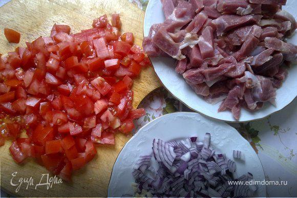 Лук и чеснок мелко нарубить, помидоры порезать кубиками, индейку нарезать длинными, не очень толстыми полосками.