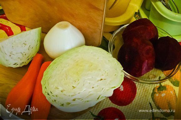 Поставить на огонь кастрюлю с водой. Все овощи почистить. Капусту нашинковать, картошку нарезать кубиками, лук мелко порубить, морковку и свеклу натереть на терке.