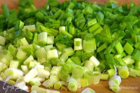 Зеленый лук порезать.