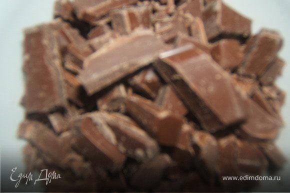 шоколад порезать на мелкие кусочки и заморозить его в морозильнике, чтобы при выпечке он не растекся