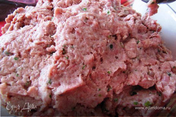 мясо с луком и кинзой дважды пропускаем через мясорубку