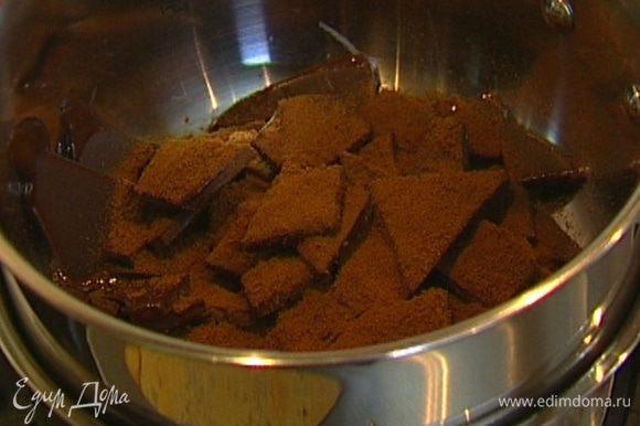 Шоколад поломать на маленькие кусочки, выложить в небольшую кастрюлю, добавить кофейный напиток, влить 5 ст. ложек горячей воды и растопить шоколад на водяной бане, не перемешивая ложкой, только слегка встряхивая кастрюлю.