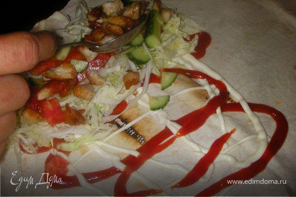 Смазываем лаваш кетчупом и майонезом,выкладуем начинку