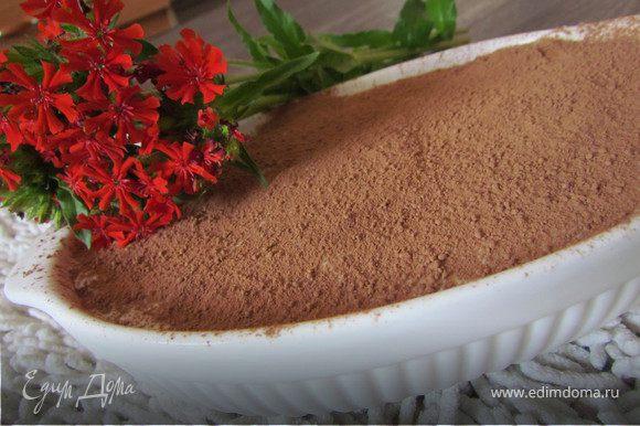 Форму затягиваем пищевой пленкой и отправляем в холодильник (минимум на часа 2)! Перед подачей можно присыпать какао, тертым шоколадом или украсить фруктами!
