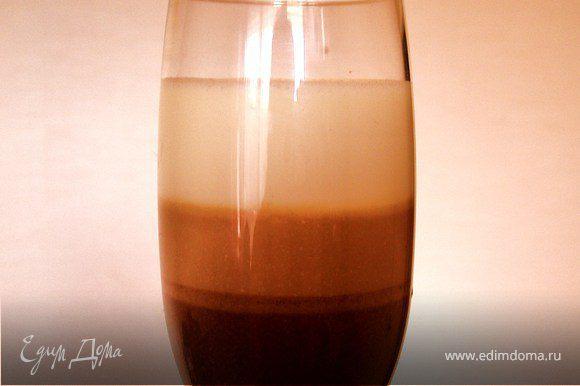 Таким же образом сформировать в бокалах еще 2 слоя из молочного и сверху белого шоколада. Оставить в холодильнике часа на 3. Подавать рекомендуется с бокалом шампанского или просекко.