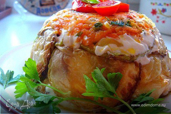 Подавать порционно- перевернув на тарелку,сняв пленку. украсить зеленью и помидорами-черри. Приятного аппетита!