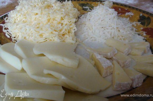 Сливочный сыр и пармизан натереть на мелкой терке, моцарелла у меня четвертинками, а камамбер 1/32:)))