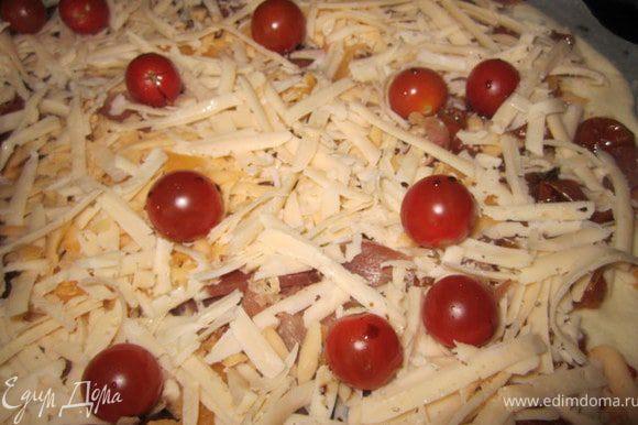 Добавить помидорки чери.