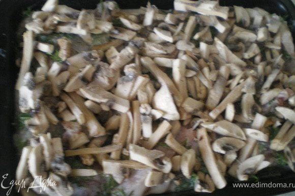 Уложить рыбу в противень, сверху выложить нарезанный полукольцами лук и грибы.
