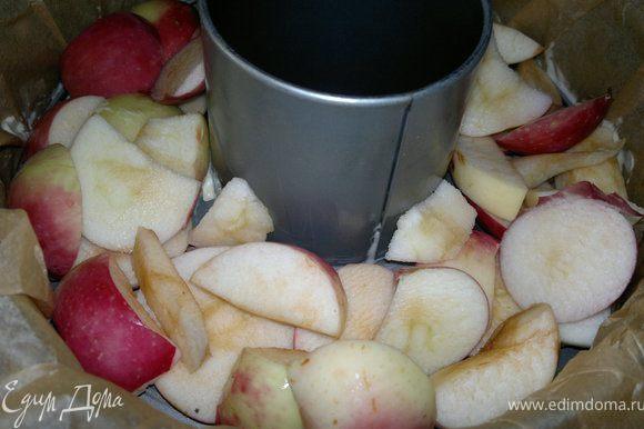 Пока взбиваются яйца порезать яблоки и уложить на дно формы.