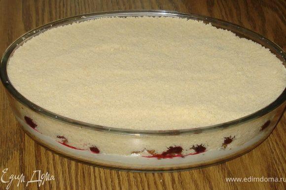 На вишню сверху высыпать аккуратно оставшееся тесто. Разровнять. Выпекать при 170-180 градусов. Готовность пирога определить с помощью легкой тряски. Если пирог ещё трясется (начинка в нем слегка жидкая), то значит его ещё можно подержать в духовке. А так выпекать до золотисто-коричневого цвета.