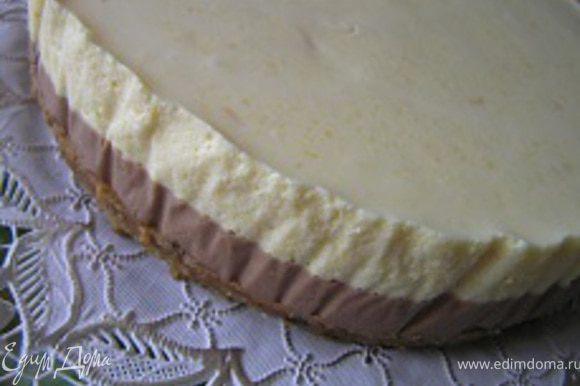 Достать торт из холодильника, аккуратно освободить от формы и пленки, выложить на подготовленное блюдо.