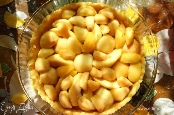 """После этого яблоки аккуратно выложить на дуршлаг, чтобы жидкость стекла. Тесто вынуть из холодильника, дать немного """"согреться"""". Затем распределить по форме, разминая руками. Сделать небольшие бортики. Уложить на тесто яблоки."""