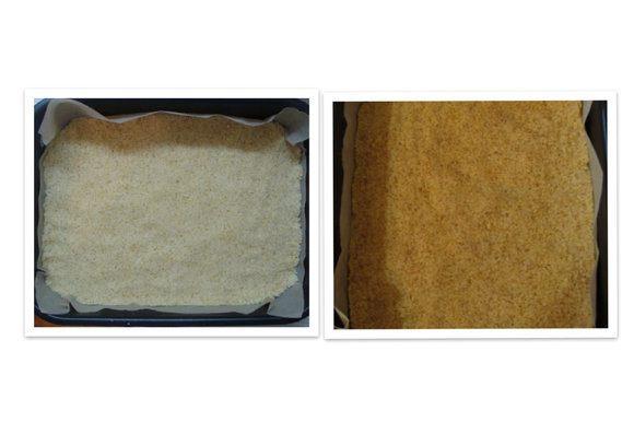 Выложить тесто в форму, распределить и придавить. Запекать 13-15 мин (края должны покоричневеть). Вынуть из духовки и остудить.
