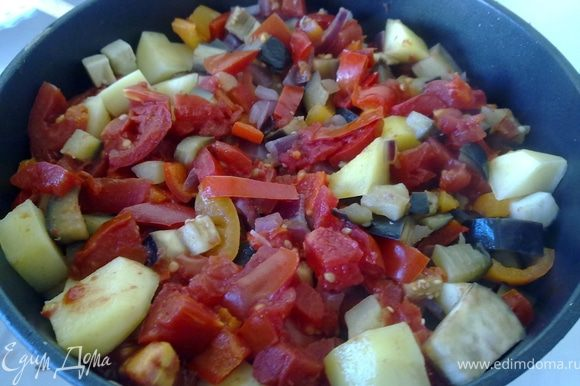 На мясо слоями выложить овощи, соля и перча каждый слой. (чеснок и зелень не выкладывать). Закрыть крышкой, довести до кипения и уменьшить огонь. Тушить до готовности овощей.