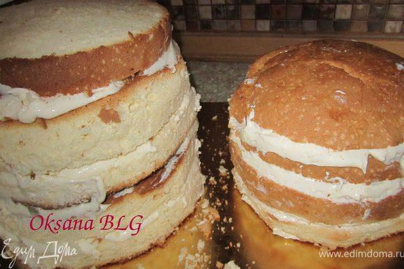 Поставить перемазанные части торта в холодильник на 3-5 часов.
