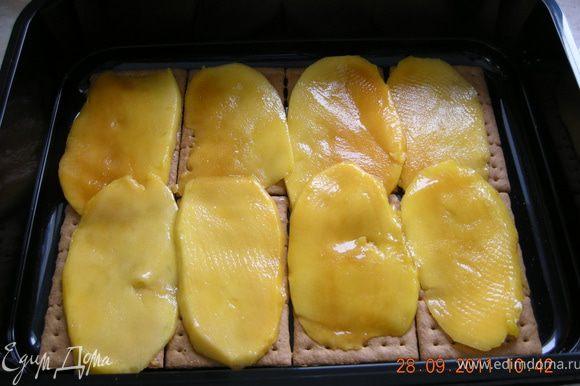 Поверх печеня укладываем ломтики манго.