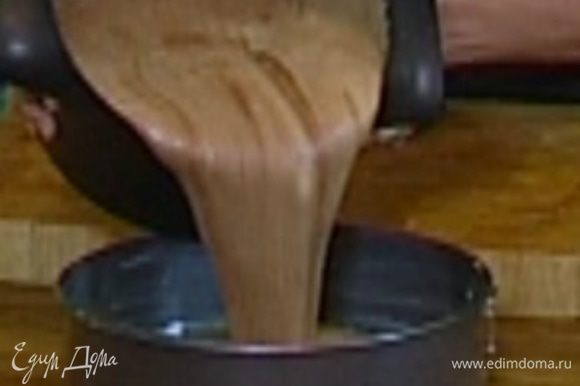 Разъемную форму для выпечки смазать оставшимся сливочным маслом, вылить в нее тесто и поместить в разогретую духовку на 40 минут.