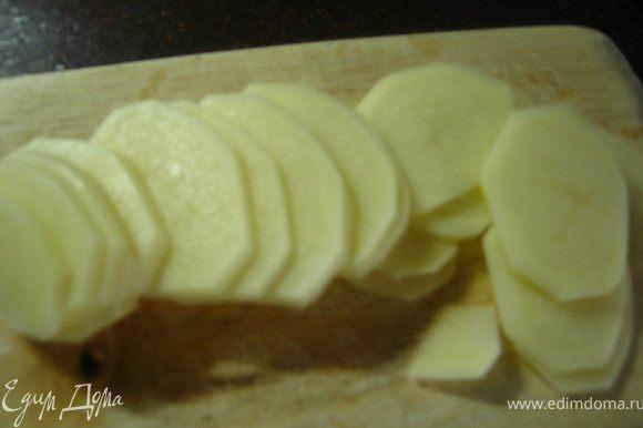 Картофель чистим и нарезаем тонкими кольцами. заливаем кипятком на 15 минут.