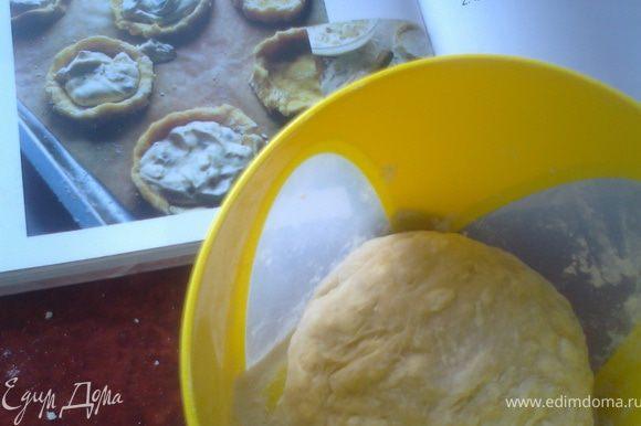 Порубить сливочное масло с мукой в крошку,влить взбитое с солью и сахаром яйцо.Если тесто сильно разваливается,влить ледяной воды(у меня 3ст.л.потребовалось)Скатать шар и выдержать его час в холодильнике.