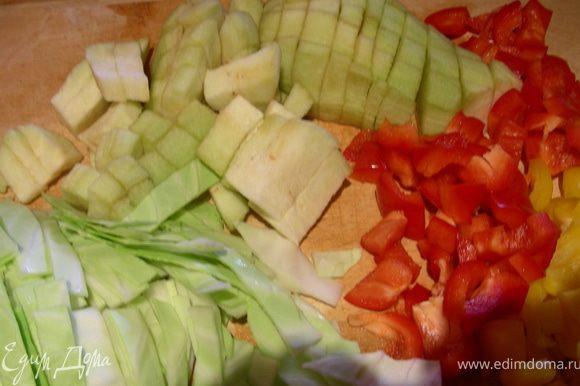 Шинкуем капусту, режем баклажаны и перцы и добавляем их в суп минут через 10.