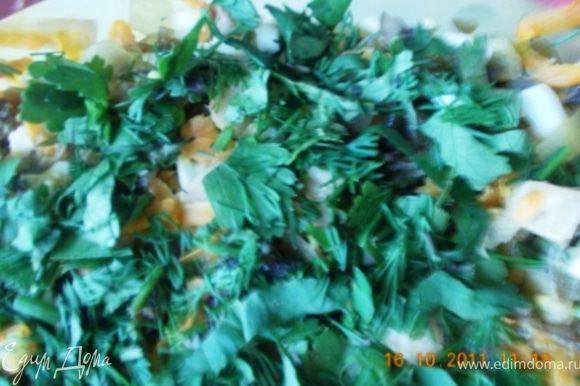 всё перемешать, можно заправить майонезом, но мне кажется это лишнее, посыпать рубленой зеленью, чтобы поярче было:) Приятного аппетита!