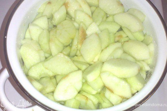 Очистить яблоки.Нарезать толстыми дольками и вместе с лимонным соком, водой и сахаром тушить до полумягкого состояния.
