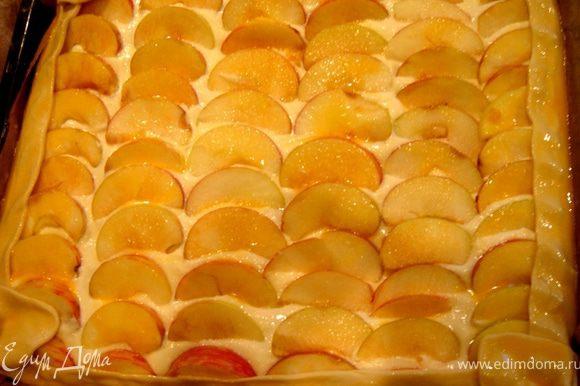 Яблоки разрезать на дольки и обжарить на масле,затем добавить мёд,сахар и,по желанию,корицу.Творог протереть через сито,смешать со сметаной,яйцами и яблоками(я извлекла яблоки из сиропа и выложила их на начинку). Слоёное тесто раскатать(я использовала противень 28х32 см),выложить сверху начинку,завернуть края теста и смазать их яйцом.Выпекать при t 200*С до готовности(30-40 мин.). Приятного аппетита!